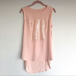 High Low Sequinned Tank Top in Dusty Rose